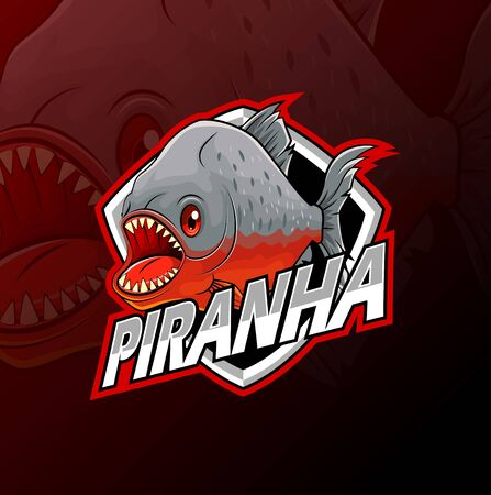 Piranha fish logo isolated on dark background