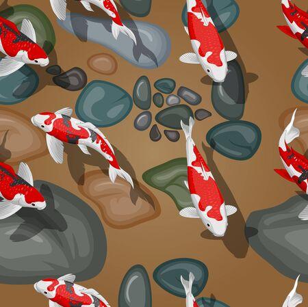 Beautiful seamless pattern koi fish carps  イラスト・ベクター素材