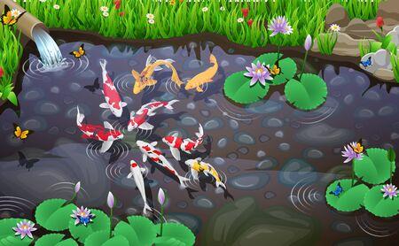 Carps koi fish underwater pond illustration