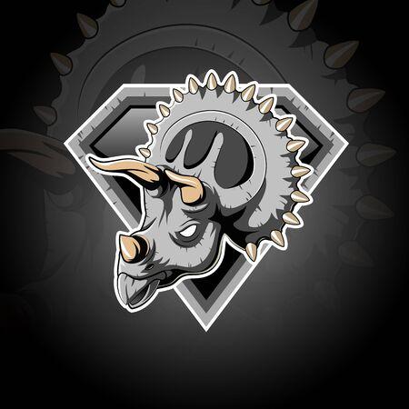Triceratops Animal Head logo icône illustration mascotte