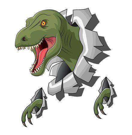 Raptor Tyrannosaurus o T-rex illustrazione del modello di logo Logo
