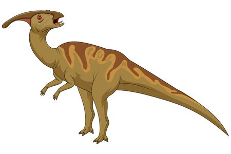 Cute cartoon dinosaur parasaurolophus character illustration