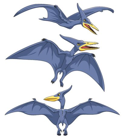 Cartoon Pterodactyl collection set. illustration on white bacground