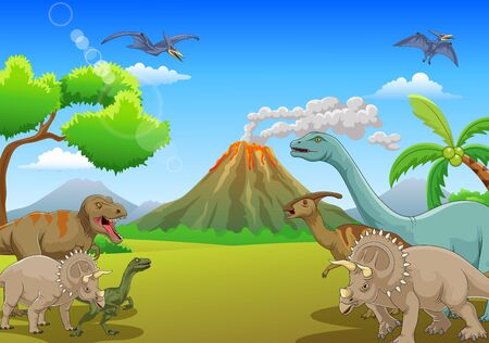 Cartoon dinosaur life on the volcano