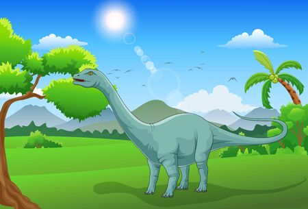 Cute cartoon dinosaur in the jungle