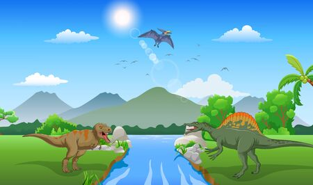 Cartoon Tyrannosaurus and spinosaurus in the jungle