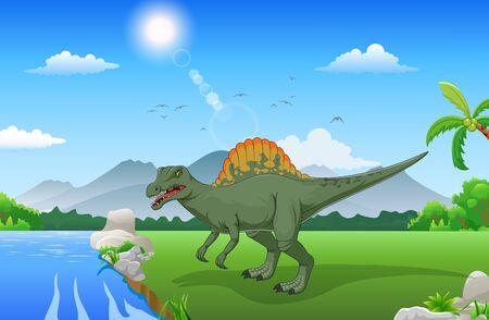 Spinosaurus de dibujos animados en la jungla