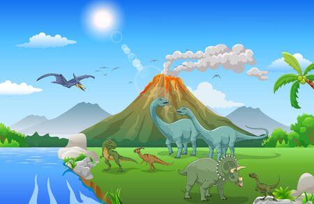 Dibujos animados de dinosaurios felices en la selva Ilustración de vector