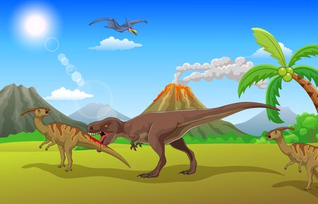 Tyrannosaurus attacks prey in the forest Ilustração