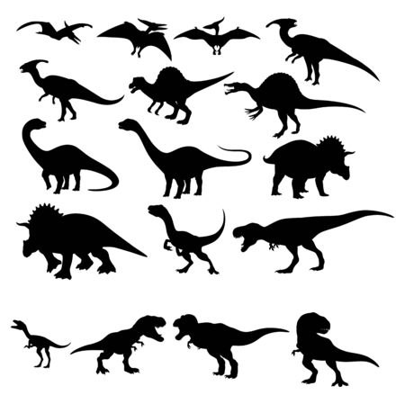 Set collection bundle of black silhouette of dinosaurs Cartoon