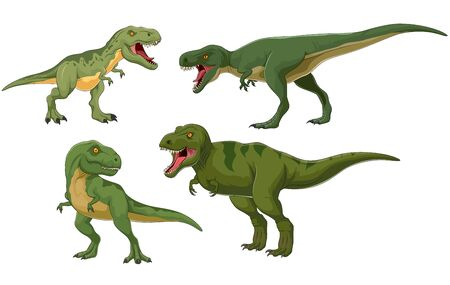 Cartoon dinosaur tyrannosaurus collection. Illustration