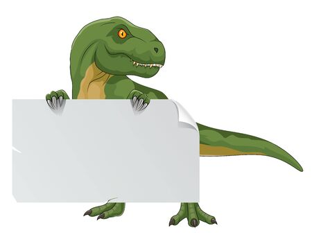 tyrannosaurus with blank sign
