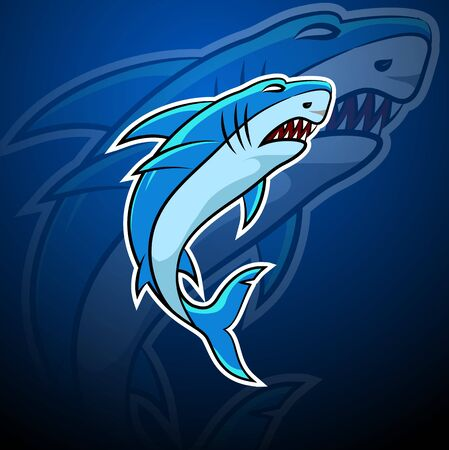 Shark esport badge logo emblem team simple professional design