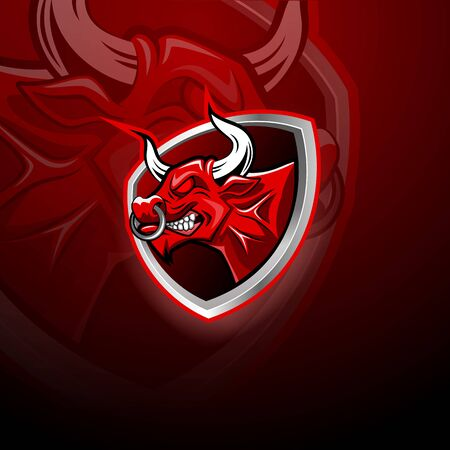 Angry Bull head in red