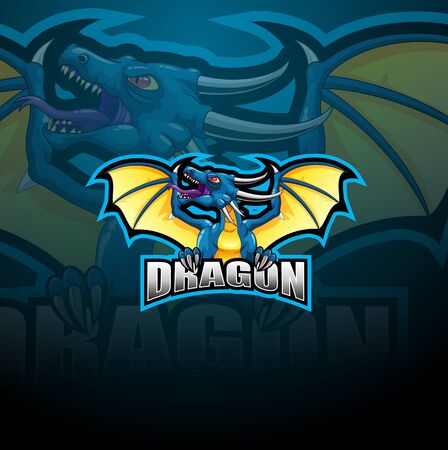 Dragon e-Sports Logo Design illustration. Dragon Mascot Gaming Logo Concepts