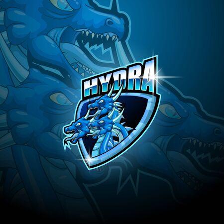 Hydra e-sport mascot logo design Ilustração