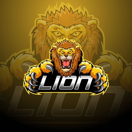 Lion head design e-sport Иллюстрация