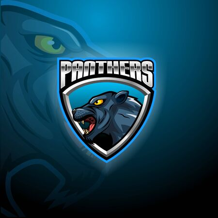 Panther head modern logo, template design emblem for a sport and e-Sport team