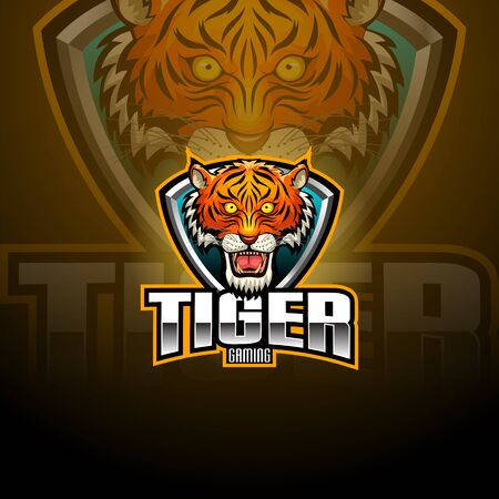 Tiger head mascot e-sport logo design