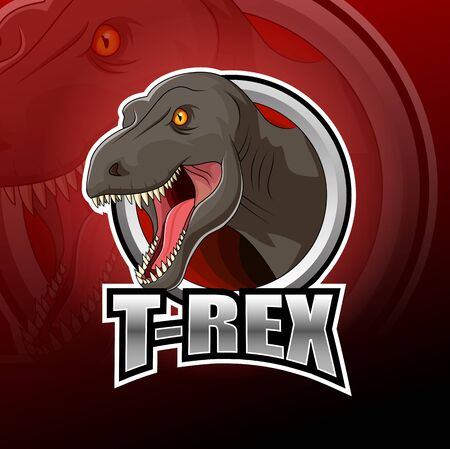 Dinosaur T-rex logo esport design illustrator