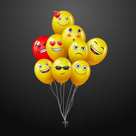emoticons set on social network on group of flying balloon as social media marketing concept