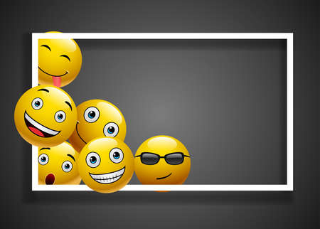 Design Modern Emoji Conceptual Abstract Art Illustration Isolated on black Background.