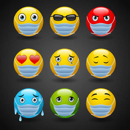 Set of four smileys or emoticons in masks conceptual of the virus