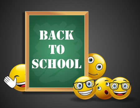 Smileys yellow emoticons in welcome back to school design with facial expressions holding blackboard with text in black texture background. illustration.