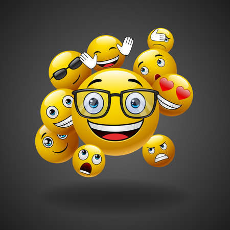 Concept for community people teamwork, black background with group of smiley emoticons, emoji. illustration Иллюстрация