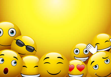Emoticons or smileys with funny and happy facial expressions in yellow blank space background for text or presentation.