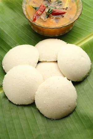 banana leaf: Indian idli with sambar on a banana leaf