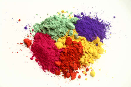 green powder: Indian Holi festival colors