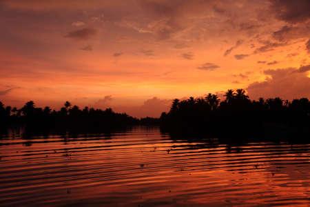 backwaters: Backwaters of Kerala during dusk, India.