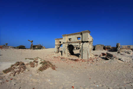 Remnants of the old Dhanushkodi city buildings. Dhanushkodi was destroyed in a devastating cyclone in the year 1964 and popularly known as Ghost city.