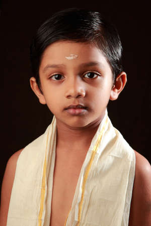 traditionally: Portrait of a traditionally dressed Indian Hindu boy