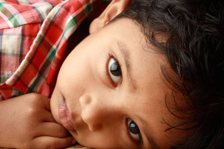 kid portrait: Portrait of a handsome Indian boy Stock Photo