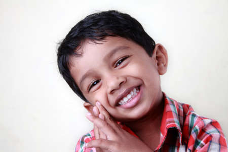 indian boy: Smiling portrait of a small Indian kid