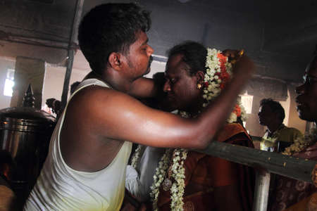 transgender: KOOVAGAM, INDIA - MAY 13,2014- A unidentified transgender who married Lord Aravan as a ritual during festival of transgenders held at Koothandavar temple in Koovagam,Tamil Nadu, India. Editorial