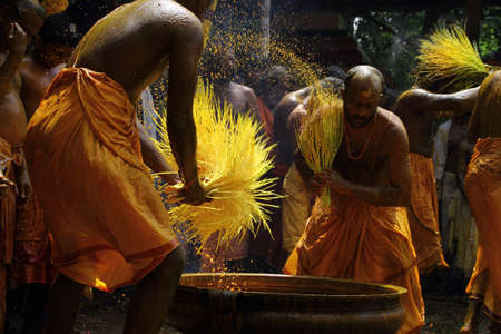 kerala culture: CHENGANNUR, INDIA - APR 13 ,2013-Devotees perform a turmeric bath during the festival at Amman temple  in Chengannur, Kerala,India. Turmeric bath is an old temple ritual of south India