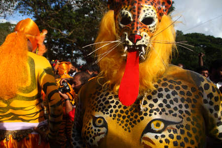 folk art: THRISSUR, INDIA - SEPT 19,2013-Body painted tiger dance artists perform at Swaraj round in Thrissur, Kerala,India. Tiger dance is a traditional folk art performed during Onam.