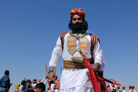 rajasthani: JAISALMER, INDIA - FEB 01,2015- A traditional Rajasthani man participates in the Mr. Desert contest conducted as part of Desert Festival held in Jaisalmer, Rajasthan, India. Editorial