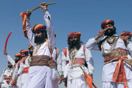 rajasthani: JAISALMER, INDIA - FEB 01,2015-Traditional Rajasthani men participate in theMr. Desert contest conducted as part of Desert Festival held  in Jaisalmer, Rajasthan, India. Editorial