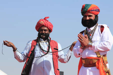 rajasthani: JAISALMER, INDIA - FEB 01,2015-Traditional Rajasthani men participate in the Mr. Mushtache contest conducted as part of Desert Festival held  in Jaisalmer, Rajasthan, India.