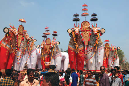effigy: NOORANAD, INDIA - FEB 18,2015-Devotees look at the massive bullock effigies displayed during the Shivratrhri festival at Padanilam Parabrahma temple  in Nooranad,Kerala, India