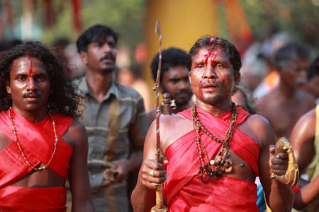 oracle: KODUNGALLUR, INDIA - MAR 20,2015-An unidentified oracle with forehead bruised by himself participates in the Bharani festival at Kodungallur Bhagavathi temple in Kodungallur, India.
