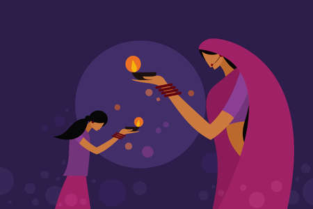 A mother and daughter wearing traditional dress holding Diwali oil lamps in their hands.Concept for Diwali festival in India 矢量图像
