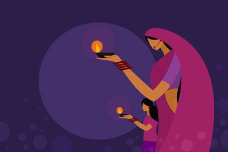A mother and daughter wearing traditional dress holding Diwali oil lamps in their hands.Concept for Diwali festival in India Illusztráció