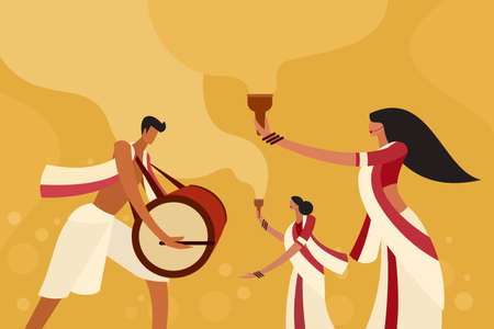 Illustration of people celebrating the occasion of Durga Puja Festival in India Stock fotó - 157524367