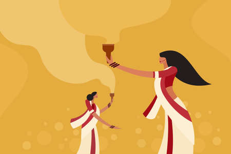 Illustration of women dancing on the occasion of Durga Puja Festival in India Illusztráció