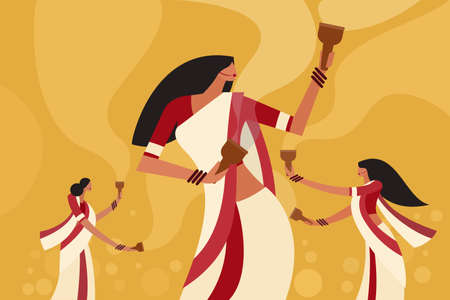 Illustration of women dancing with incense burners in their hands during the Durga Puja Festival